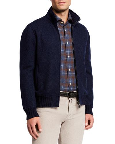 Men's Cashmere Zip-Front Sweater