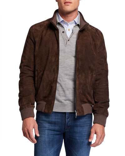 Men's Cashmere-Lined Suede Jacket