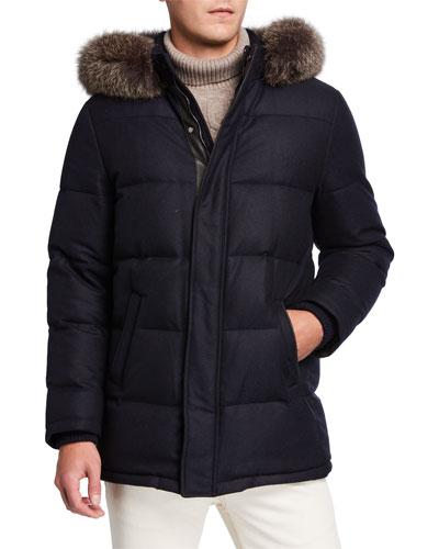 Men's Cashmere-Blend Puffer Coat w/ Fur Trim