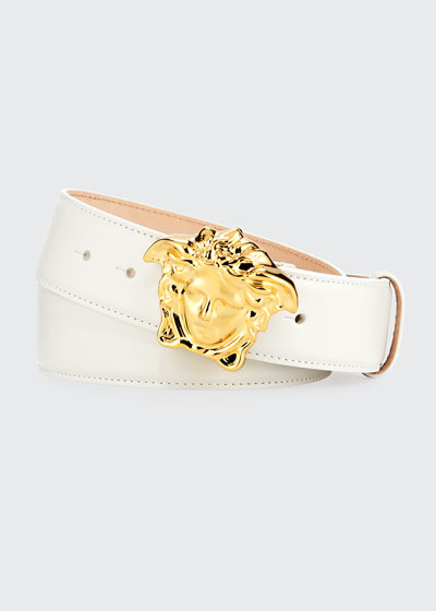 Leather Medusa-Buckle Belt