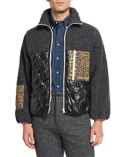Men's Milo Fleece Mixed-Media Zip-Front Jacket
