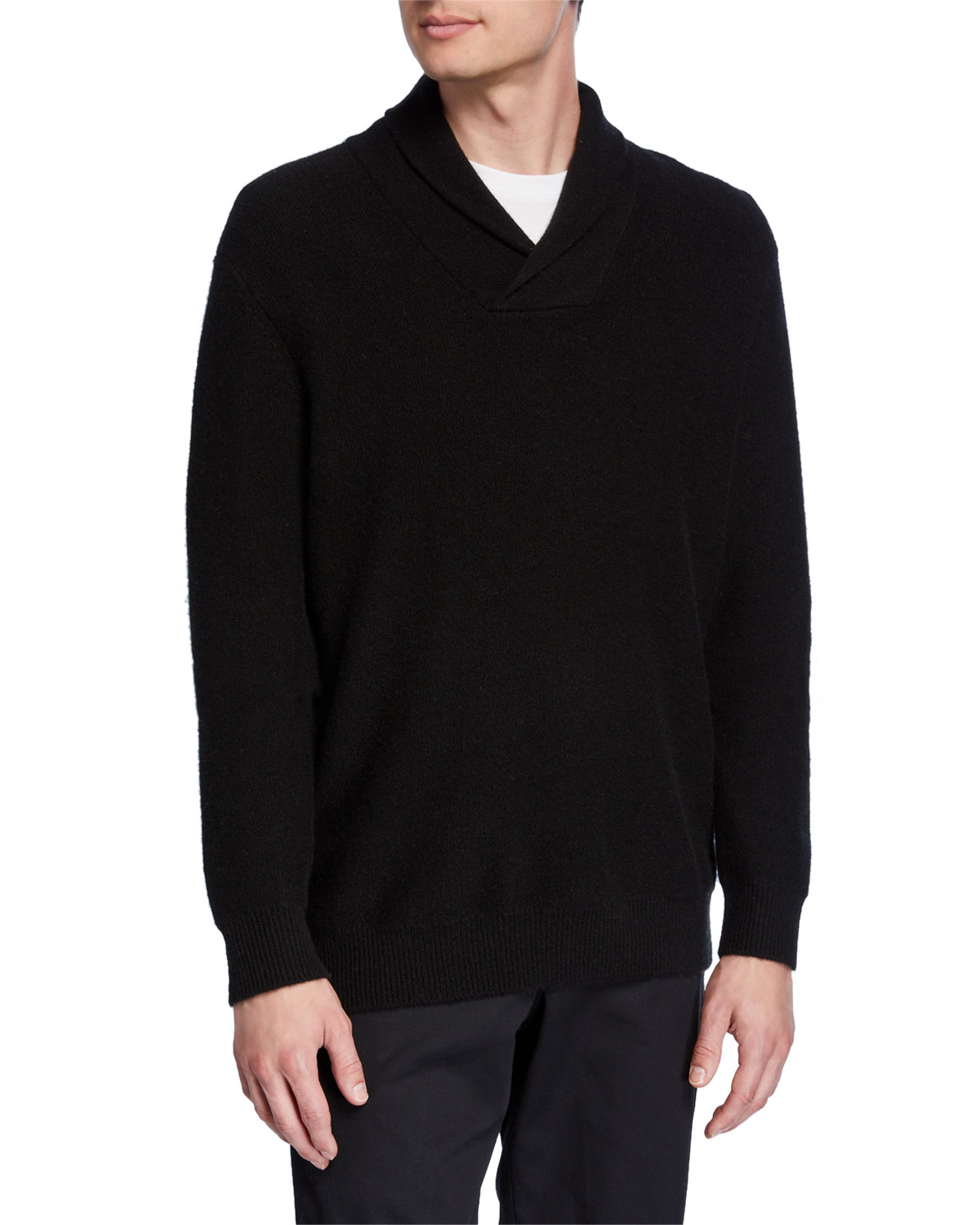 Vince Sweaters MEN'S CASHMERE SHAWL COLLAR POPOVER SWEATER