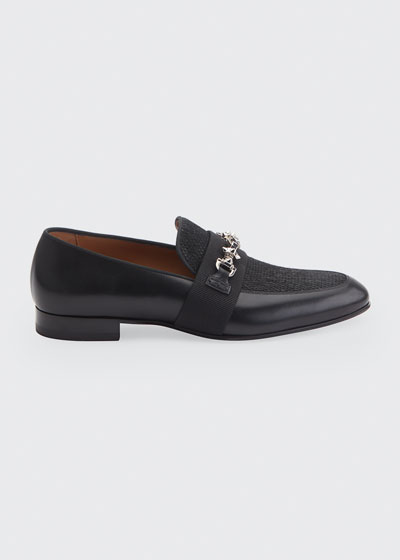 Men's Panamax Spiked Leather/Fabric Loafers