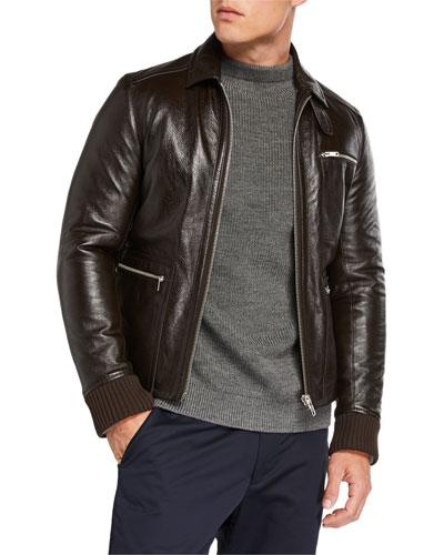 Men's Napa Leather Zip-Front Jacket