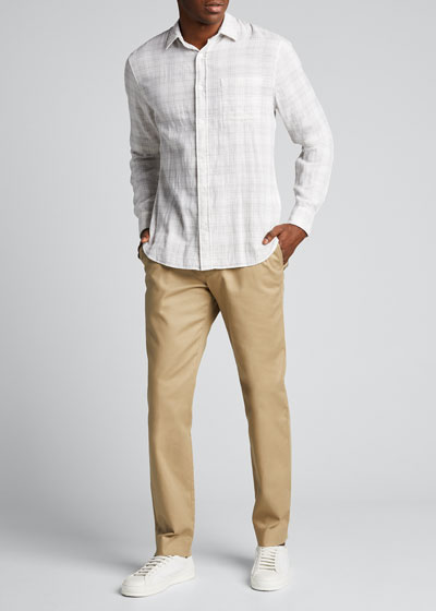 Men's Double-Face Grid Plaid Sport Shirt