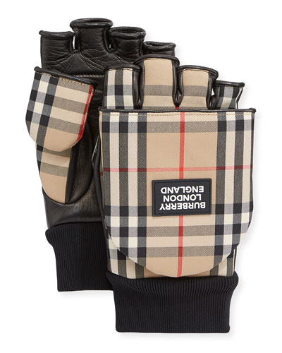 Men's 3-in-1 Leather & Check Gloves