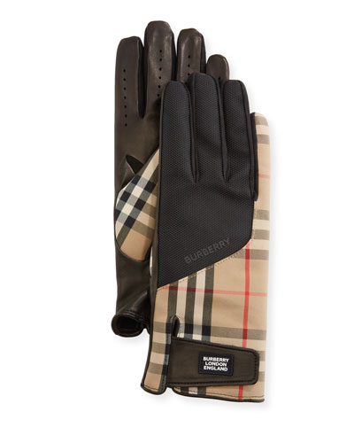 Men's Leather-Palm Bimaterial Gloves