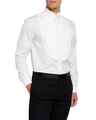Men's Pique Plastron-Front Tuxedo Shirt