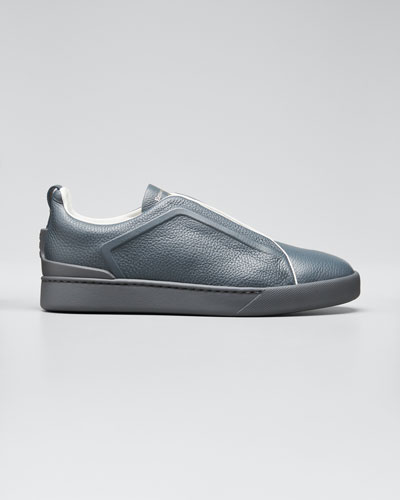 Men's Triple-Stitch Leather Slip-On Sneakers