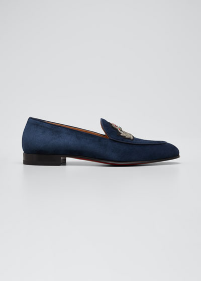 Men's Crest on the Nile Suede Red Sole Loafers