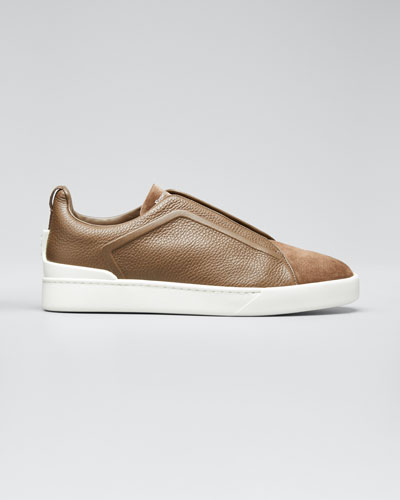 Men's Triple-Stitch Leather & Suede Sneakers