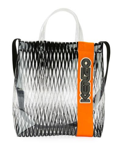 Men's Vinyl/Leather Logo Tote Bag
