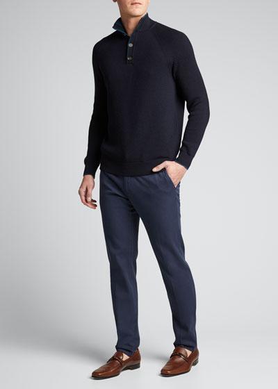 Men's Slim Straight-Leg Stretch-Cotton Pants