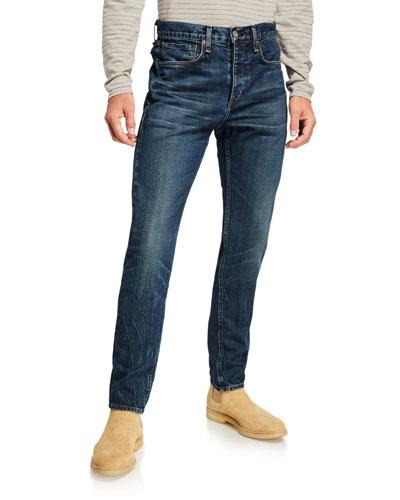 Men's Slim High-Rise Medium-Wash Jeans