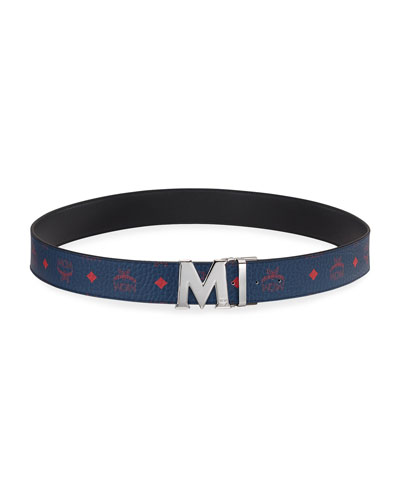 Men's Claus Reversible Monogrammed Canvas/Solid Leather Belt