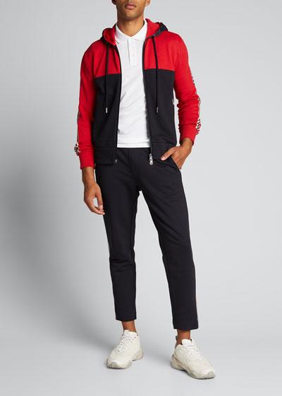 Men's Colorblock Zip-Front Hooded Cardigan