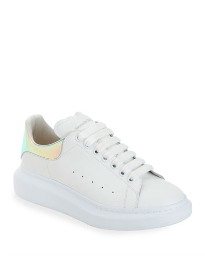 Men's Leather Platform Sneakers with Iridescent Back