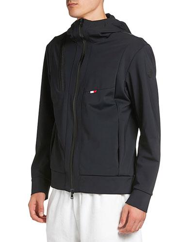 Men's Zip-Front Hooded Knit Jacket