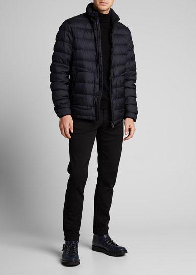 Men's Octavien Zip-Front Puffer Coat w/ Packaway Hood
