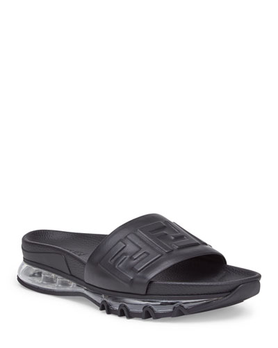 Men's Clear-Sole Logo Slide Sandals