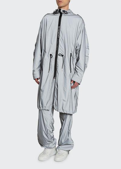Men's Metallic Nylon Packable Rain Parka  Coat