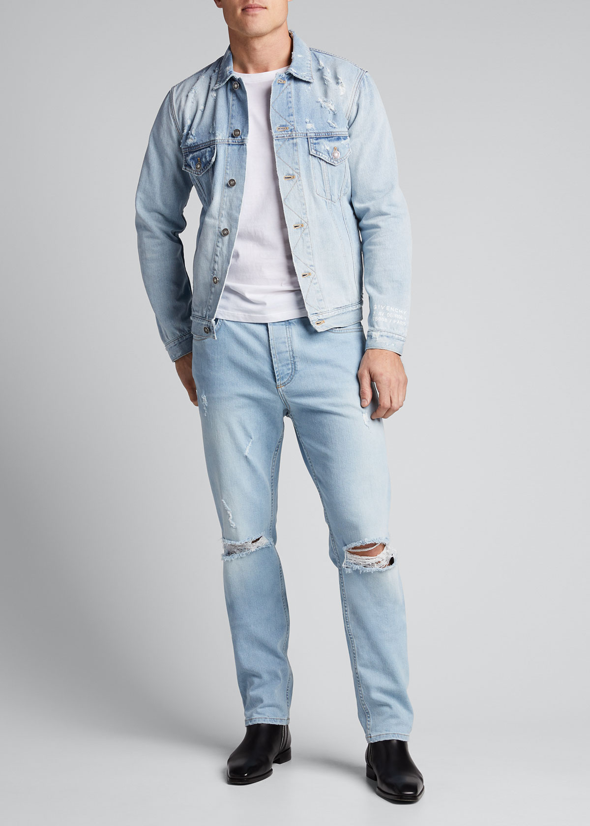 Givenchy Jackets MEN'S CLASSIC-FIT DISTRESSED DENIM JACKET