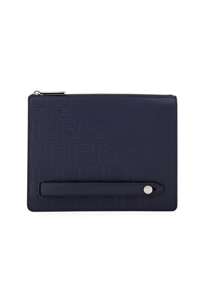 Men's Embossed FF Logo Leather Clutch Bag