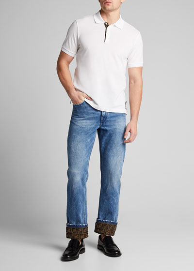 Men's Turn-Up FF-Cuff Straight-Leg Jeans