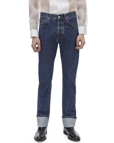 Men's High-Rise Dark Stone-Wash Straight-Leg Jeans