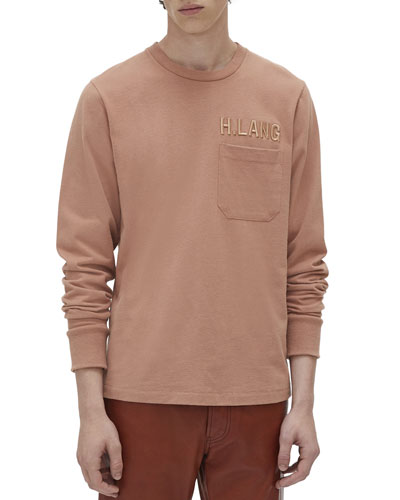 Men's Raised Embroidery Long-Sleeve Pocket T-Shirt