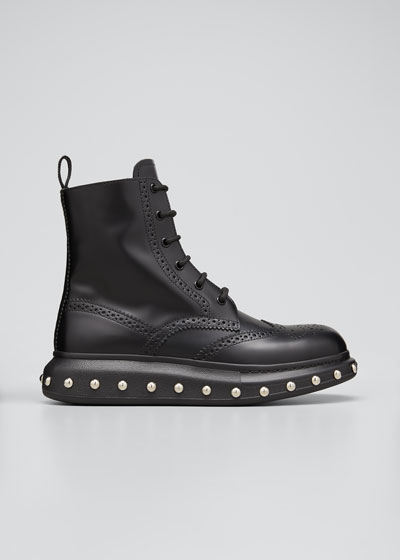 Men's Hybrid Lace-Up Boots w/ Studded Sole