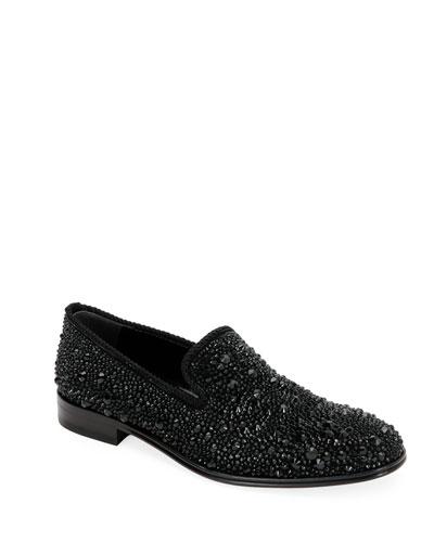 Men's Crystal-Embellished Formal Slip-On Shoes