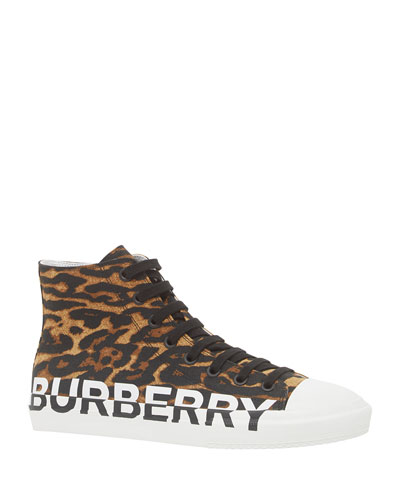 Men's Larkhall Leopard-Print Logo High-Top Sneakers