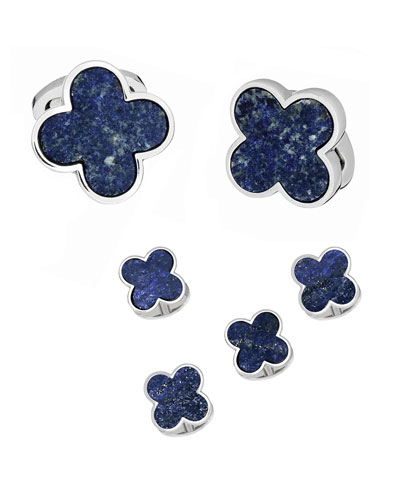 Men's Lapis Lazuli Clover Cufflink & Stud Set