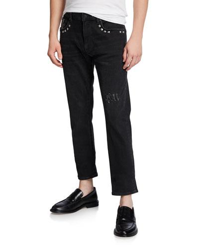 Men's Slim Studded Ankle Jeans