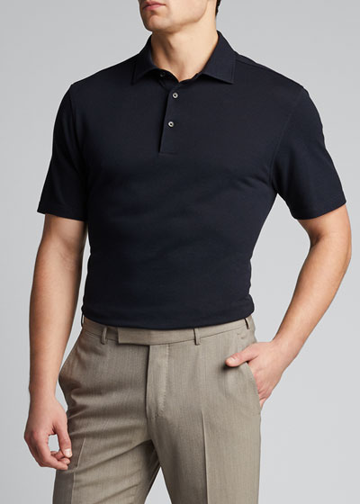 Men's Solid Cotton-Silk Polo Shirt
