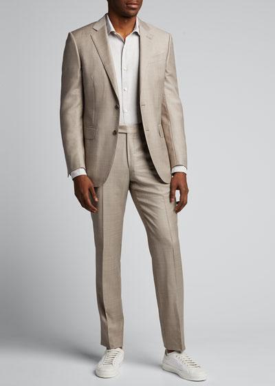 Men's Trim-Fit Solid Linen-Cotton Sport Shirt