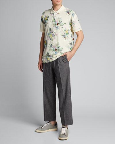 Men's Floral-Print Polo Shirt