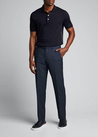 Men's Premium Cotton Regular-Fit Polo Shirt w/ Piping