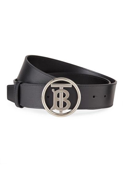 Men's TB-Buckle Leather Belt