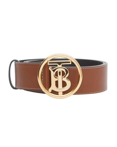 Men's TB-Buckle Topstitched Leather Belt