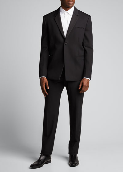 Men's Solid Wool Tuxedo Jacket