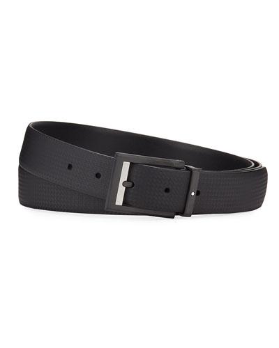 Men's Printed Leather Rectangle-Buckle Belt
