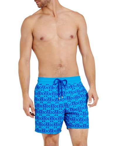 Men's Flocked Seahorses-Print Swim Trunks