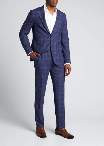 Men's Plaid Wool-Blend Two-Piece Suit