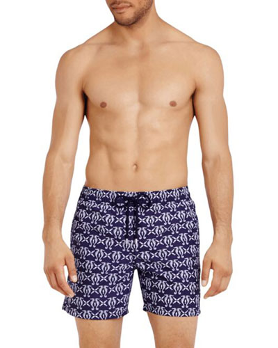 Men's Seahorse-Print Swim Trunks