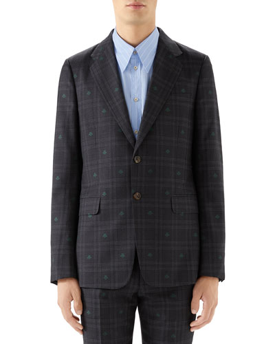 Men's Signature Bee Check Two-Piece Wool Suit