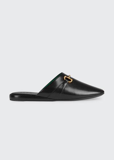 Men's Pericle Leather Horsebit Mule Slippers