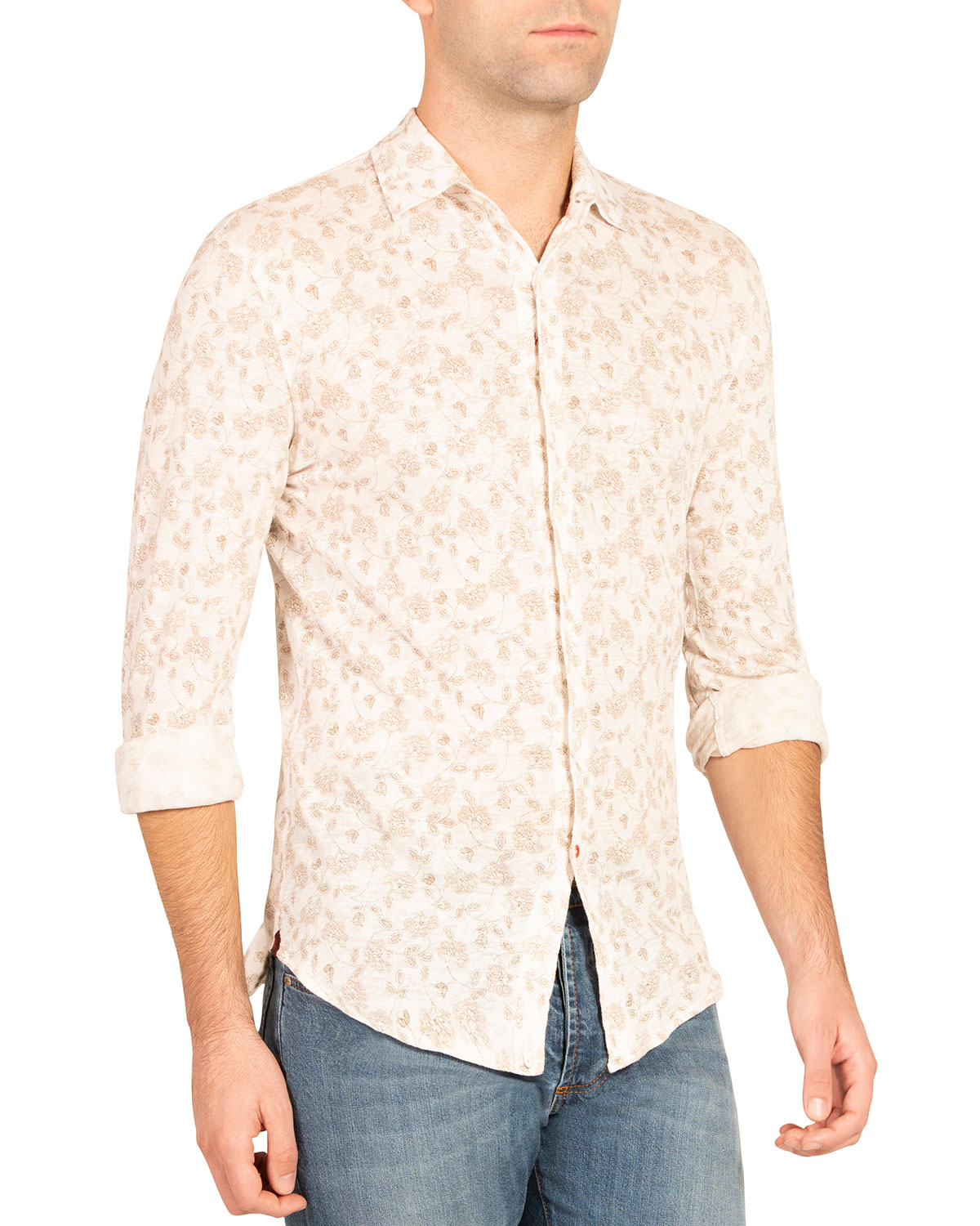 Isaia MEN'S FLORAL SPORT SHIRT
