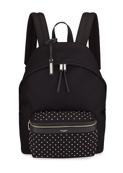 Men's Micro-Stud Canvas Backpack w/ Leather Trim